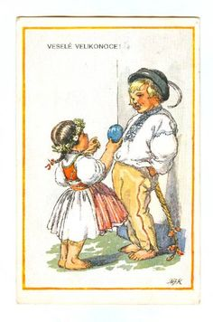 Easter Traditions, Children Images, Vintage Easter, Czech Republic, Vintage Images, Baseball Cards, Drawing, Retro, Postcards