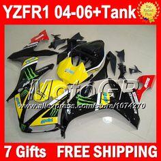 Купить товар7 подарки + для YAMAHA YZF R1 желтый черный 2004 2005 2006 YZF R1 P101296 YZF1000 YZFR1 желтый красный 04 05 06 YZF 1000 04 06 обтекатели в категории Щитки и художественная формовкана AliExpress.                              Удостоверение личности aliexpress: MotoGP