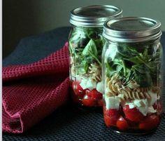 Tomato, fresh mozzarella, and baby spinach mason jar salad. salad in a jar recipes mason jar salad recipes