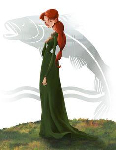 Catelyn Tully Stark del juego del arte de tronos (canción de hielo y fuego) pintura impresión, firmado por Leann Hill