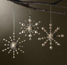 great snowflake beaded ornaments esp to put on chandeliers and around the house