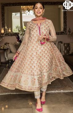 A Maysuri kalidar with extensive screen print all over. It is hand worked on the neckline and sleeves with mirror,resham and beads. Pakistani Fashion Party Wear, Pakistani Wedding Outfits, Indian Fashion Dresses, Dress Indian Style, Indian Designer Outfits, Indian Outfits, Designer Dresses, Pakistani Casual Wear, Sherwani For Men Wedding