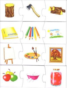 The best crafts Preschool Learning Activities, Speech Therapy Activities, Preschool Activities, Learning English For Kids, Kids Learning, Things That Go Together, Puzzle Frame, Shapes For Kids, Fun Worksheets