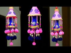 How to Make Wind Chime/Wall Hanging at Home Diy Crafts Hacks, Diy Home Crafts, Easy Diy Crafts, Diy Arts And Crafts, Creative Crafts, Diwali Diy, Diwali Craft, Plastic Bottle Crafts, Diy Bottle