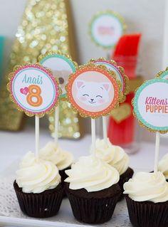 Kitten and Puppy Love themed birthday party via Kara's Party Ideas KarasPartyIdeas.com Cake, cupcakes, decor, printables, and more! #puppypa...