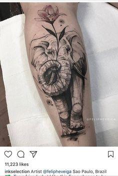 elephant tattoos with flowers ; elephant tattoos meaning ; elephant tattoos for women ; Bild Tattoos, Dope Tattoos, Leg Tattoos, Flower Tattoos, Body Art Tattoos, Sleeve Tattoos, Tatoos, Pretty Tattoos, Elephant Tattoo Design