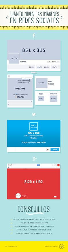 ¿Cuánto miden las imágenes en las Redes Sociales? #infografia #infographic #socialmedia