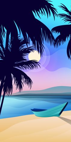 Boat on the beach with palm trees and sun Landscape Wallpaper, Scenery Wallpaper, Wallpaper Backgrounds, Minimal Wallpaper, Graphic Wallpaper, Landscape Concept, Landscape Art, Cellphone Wallpaper, Galaxy Wallpaper