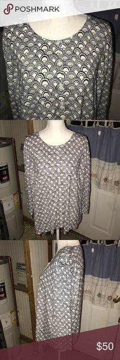 Talbots Art Deco Charming Cardigan Navy and white Art Deco pattern.  New with tags. Talbots Sweaters Cardigans