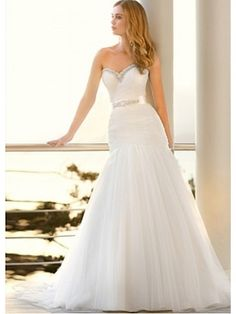 Tulle Satin Chapel Train Sweetheart Fit-and-flared Wedding Dress http://www.didobridal.com/fabulous-mermaid-sweetheart-tulle-satin-beach-wedding-dress.html