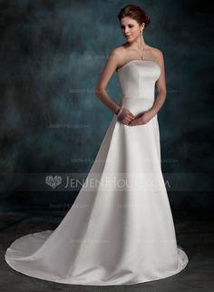 Corte A/Princesa Estrapless Cola corte Satén Vestido de novia (002001254)