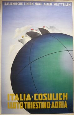 A rare Cassandre poster for the Italia- Cosulich  Lloyd Triestino company.  Originally the fleet of ships sailed from Trieste to Palermo, Messina, New York, Naples South America and New Orleans.
