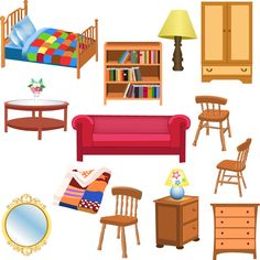 Illustration about Vector set of furniture for living room and bedroom, isolated on a white background. Illustration of house, furniture, living - 32487432 Kids Living Rooms, Living Room Sets, Living Room Bedroom, Space Furniture, Living Room Furniture, Furniture Sets, Home Furniture, Mesa Sofa, House Clipart