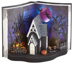 Pier 1 Imports LED Light-Up Halloween Haunted House Book