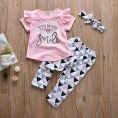 Baby / Toddler Ruffled Top, Triangle Pants and Bowknot Headband Baby Outfits Newborn, Toddler Outfits, Kids Outfits, Baby Girl Jumpsuit, Baby Dress, Cheap Baby Clothes, Baby Boutique Clothing, Jumpsuits For Girls, Girls Pajamas