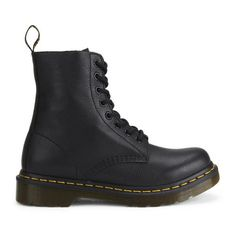 Dr. Martens Women's 1460 Pascal 8-Eye Leather Boots (¥15,645) ❤ liked on Polyvore featuring shoes, boots, botas, chaussures, black, dr martens boots, pull on boots, pull on leather boots, black slip on shoes and black boots