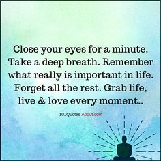 Remember what really is important in life. Forget all the rest. Grab life, live and love every moment - Life Quote #life #quotes