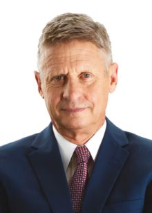 Gary Johnson (1953 - ) an American businessman, author, politician and the Libertarian Party nominee for President of the United States in the 2016 election. He served as the 29th Governor of New Mexico from 1995 to 2003 as a member of the Republican Party. He was also the Libertarian Party's nominee for President of the United States in the 2012 election.