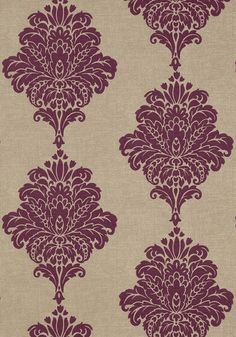 Arturo Damask #wallpaper in #purple from the Monterey collection. #Thibaut #Damask