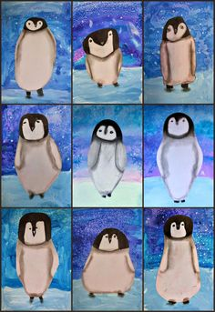 MaryMaking: March of the Penguins, So sweet! MaryMaking: March of the Penguins, Classroom Art Projects, School Art Projects, Art 2nd Grade, Grade 3, March Of The Penguins, Baby Penguins, January Art, Polo Norte, Penguin Art