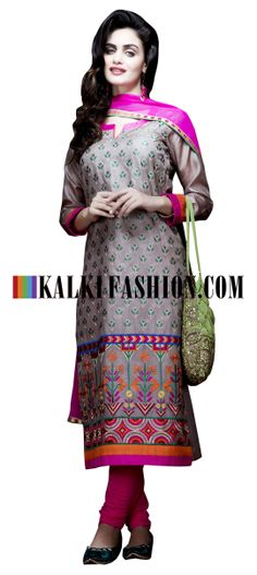 Buy Online from the link below. We ship worldwide (Free Shipping over US$100) http://www.kalkifashion.com/grey-unstitched-suit-in-resham-and-zari-work-in-geometric-shape.html Grey unstitched suit in resham and zari work in geometric shape