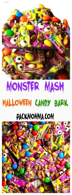 Monster Mash Halloween Candy Bark - this festive and fun no-bake bark is the perfect sweet treat to scare up some new friends this Halloween : Pack Momma Halloween Snacks, Halloween Bark, Bonbon Halloween, Dessert Halloween, Halloween Baking, Halloween Tattoo, Halloween Goodies, Holiday Baking, Halloween Ideas