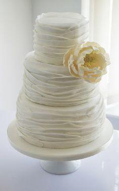 Sugar Ruffles, Elegant Wedding Cakes. Barrow in Furness and the Lake District, Cumbria: Open Peony Ruffle Wedding Cake