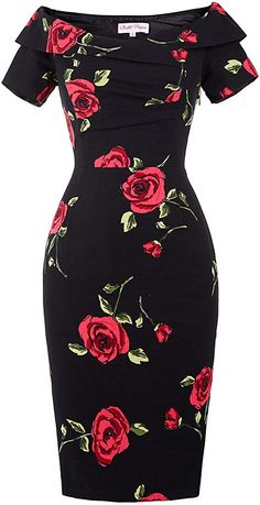 Quality Women Summer Dress Vestidos Sexy Off The Shoulder Rose Print Bodycon Slim Pencil Dress Big Size Rockabilly Vintage Dresses with free worldwide shipping on AliExpress Mobile 50s Dresses, Sexy Dresses, Vintage Dresses, Short Sleeve Dresses, Cute Dresses, Party Dresses, Awesome Dresses, Office Dresses, Cheap Dresses
