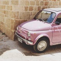 Fiat 500 old style pink rose