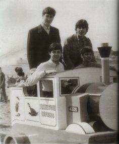 "The Beatles on the ""Flintstone Express"", Weston-Super-Mare, Somerset, England. July 1963"