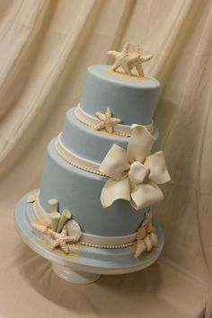 An exercise in minimalism. This cake is elegant and not kitsch like some (where an entire box of graham crackers is used to make a beach-y cake!!!)  Oh One Fine Day: WEDDING CAKES BEACH STYLE