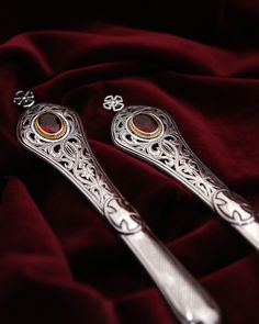 Details from church utensils. Silver spear and communion with gold decoration and semiprecious stones. Byzantine Art, Handmade Silver, Utensils, Detail, Diamond, Communion, Gold, Stones, Decoration
