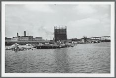 1953 waterfront along the Thames. Large tower and parking garage Types Of Resources, New London, Local History, New York Public Library, Still Image, Connecticut, New York City, North America, New York Skyline