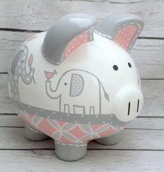 Personalized Piggy bank Artisan hand painted by Alphadorable Pebble Painting, Pottery Painting, Baby Piggy Banks, The Little Couple, Personalized Piggy Bank, Cute Piggies, Elephant Nursery, Porcelain Ceramics, Baby Shower Gifts