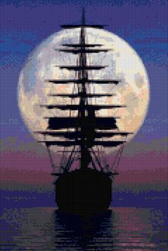 Ocean Moonlight Sailboat Landscape Cross stitch pattern PDF - EASY chart with…