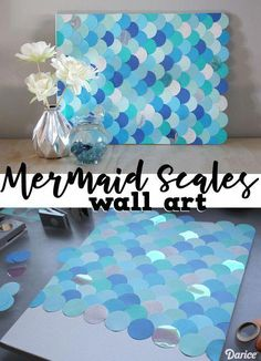 This mermaid themed wall art with DIY fish scales is a gorgeous statement piece that you can make with very little effort! This mermaid themed wall art with DIY fish scales is a gorgeous statement piece that you can make with very little effort! Mermaid Bathroom Decor, Mermaid Bedroom, Mermaid Wall Art, Mermaid Diy, Little Mermaid Bathroom, Live Little Mermaid, Little Mermaid Crafts, Little Mermaid Nursery, Mermaid Canvas