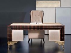 Rectangular leather writing desk with drawers MK157 | Writing desk - Rozzoni Mobili d'Arte