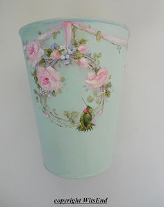 Flower vase painting RESERVED for M.E. on vintage sap by 4WitsEnd via Etsy