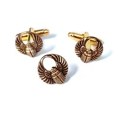 Brass Winged Scarab Cufflinks Tie Tack- Men's New African Beetle Cuff Links Set #Handmade