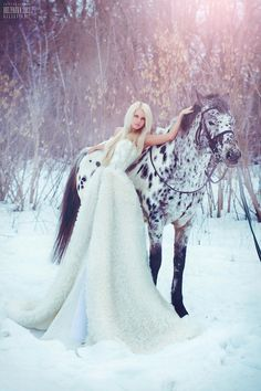 Black and White horse and model with white dress- cool concept. So pretty maybe with my red dress for senior pics?