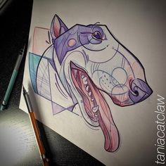 #bullterrier #dog #sketching #ink #geometricmeetswatercolor