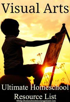 Visual Arts for the #Homeschool: An Ultimate Homeschool Resource list from #Homeschool Encouragement #HSencouragement
