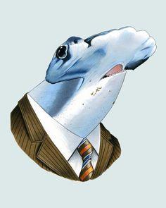 Hammerhead Shark art print 11x14 by berkleyillustration on Etsy, $35.00