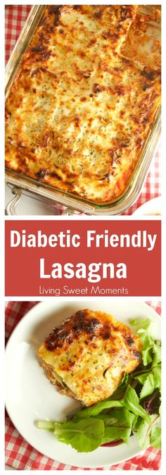 This easy Diabetic Lasagna Recipe is delicious, hearty and healthy. Made with ground turkey and fat-free ricotta. Perfect for an easy weeknight dinner idea. #weightlossbeforeandafter