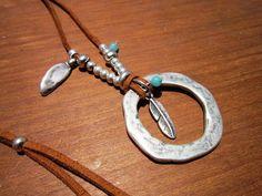 ring leather necklace eternity necklace Boho jewelry by kekugi #jewelrynecklaces