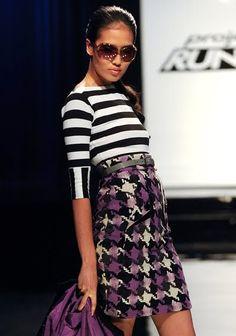 black white striped top purple checkered pattern skirt Mondo Project Runway