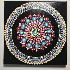 Hand Painted Mandala on Canvas, Meditation Mandala, Dot Mandala Wall Art, Healing, Calming, #640 by MafaStones on Etsy