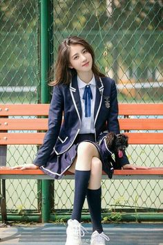 Ulzzang Korean Uniforme in 2020 Korean Uniform School, Cute School Uniforms, School Uniform Fashion, School Uniform Girls, Girls Uniforms, Japanese High School Uniform, Girls School, School Girl Japan, School Girl Dress