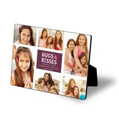 Hugs & Kisses Photo Collage 5x7 Glossy Easel Art in Purple, Teal & Orange