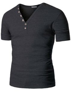 Amazon.com: Doublju Mens V-Neck T-shirts with Skull Button: Clothing